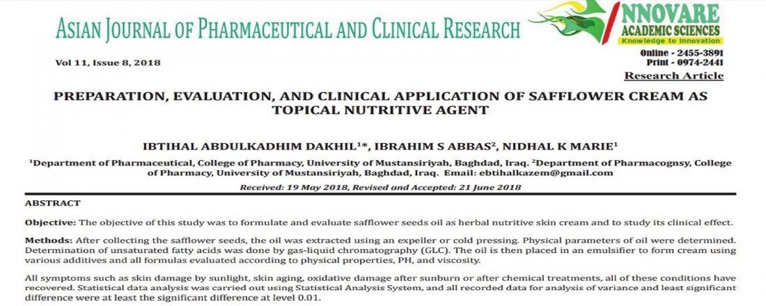 e5b65d68e دراسة علمية في الجامعة المستنصرية عن إستعمال كريم زيت العصفر كمُستَحضَر  خارجي لتغذية الجلد