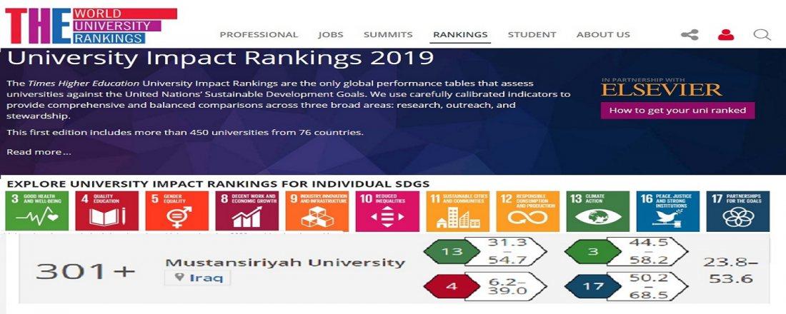 33eefa278 المستصرية تحتل المركز الثاني عراقياً في تصنيف التايمز البريطاني لأهداف  التنمية المستدامة